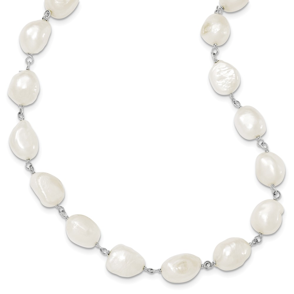 Sterling Silver 16in White Freshwater Cultured Pearl Necklace