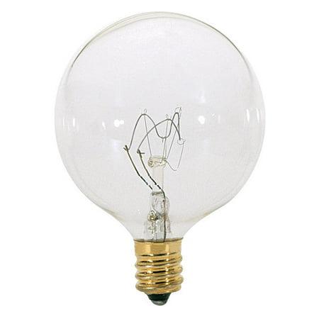 60w G16.5 Candelabra (Satco S3831 60W 120V Globe G16.5 Clear E12 Candelabra Base Incand. bulb )