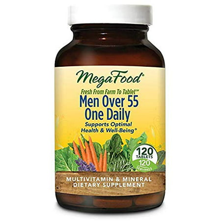 MegaFood - Men Over 55 One Daily, Multivitamin Support for Healthy Energy Production and Immunity with Vitamins C and D3, and Methylated Folate and B12, Vegetarian, Gluten-Free, Non-GMO, 120