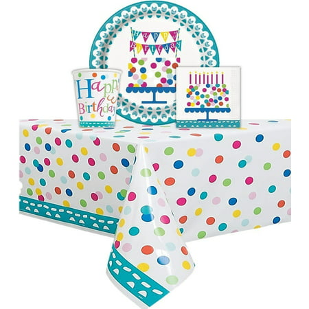 Confetti Cake Themed Birthday Party Set Serves 16 Guest - One Confetti Cake Birthday Plastic Tablecloth, 84
