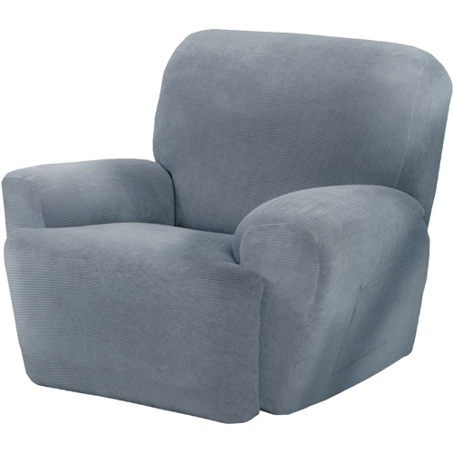 Maytex Stretch Collin 4 Piece Recliner Armchair Furniture Cover Slipcover with Side Pocket, Steel Blue