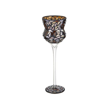 Elements 13 Inch Glass Mosaic Goblet Candle holder