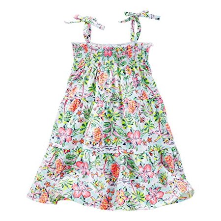 OshKosh B'gosh Big Girls' Smocked Tiered Dress (12 Kids, Multi) ()