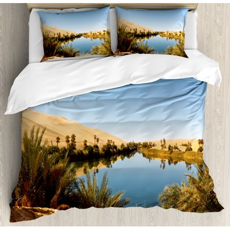 Desert Queen Size Duvet Cover Set  Idyllic Oasis Awbari Sand Sea Sahara Libya Pond Lush Arid Country  Decorative 3 Piece Bedding Set With 2 Pillow Shams  Pale Blue Green Sand Brown  By Ambesonne