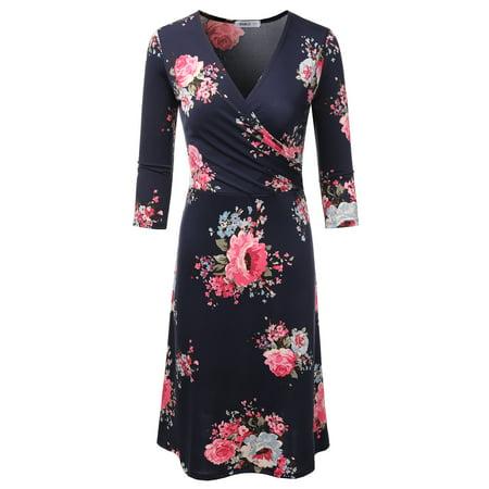 Doublju Women's Faux Wrap A Line Dress 3/4 Sleeve Deep V Neck Flare Midi Dress NAVYROSE - Co Faux Wrap Dress