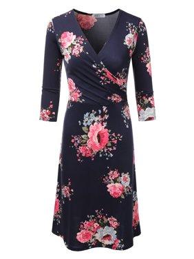 6d172ee054e Product Image Doublju Women s Faux Wrap A Line Dress 3 4 Sleeve Deep V Neck  Flare Midi