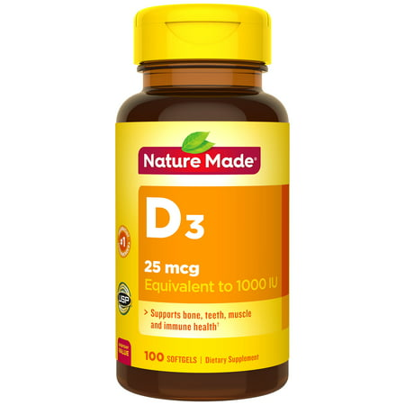 Nature Made Vitamin D3 1000 IU (25mcg) Softgels, 2X100 Count Twin Pack for Bone Health†