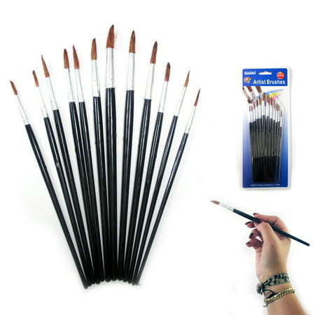 12 Pc Artist Paint Brush Set Watercolor Acrylic Painting Pointed Brushes (Fong Paint Brush)