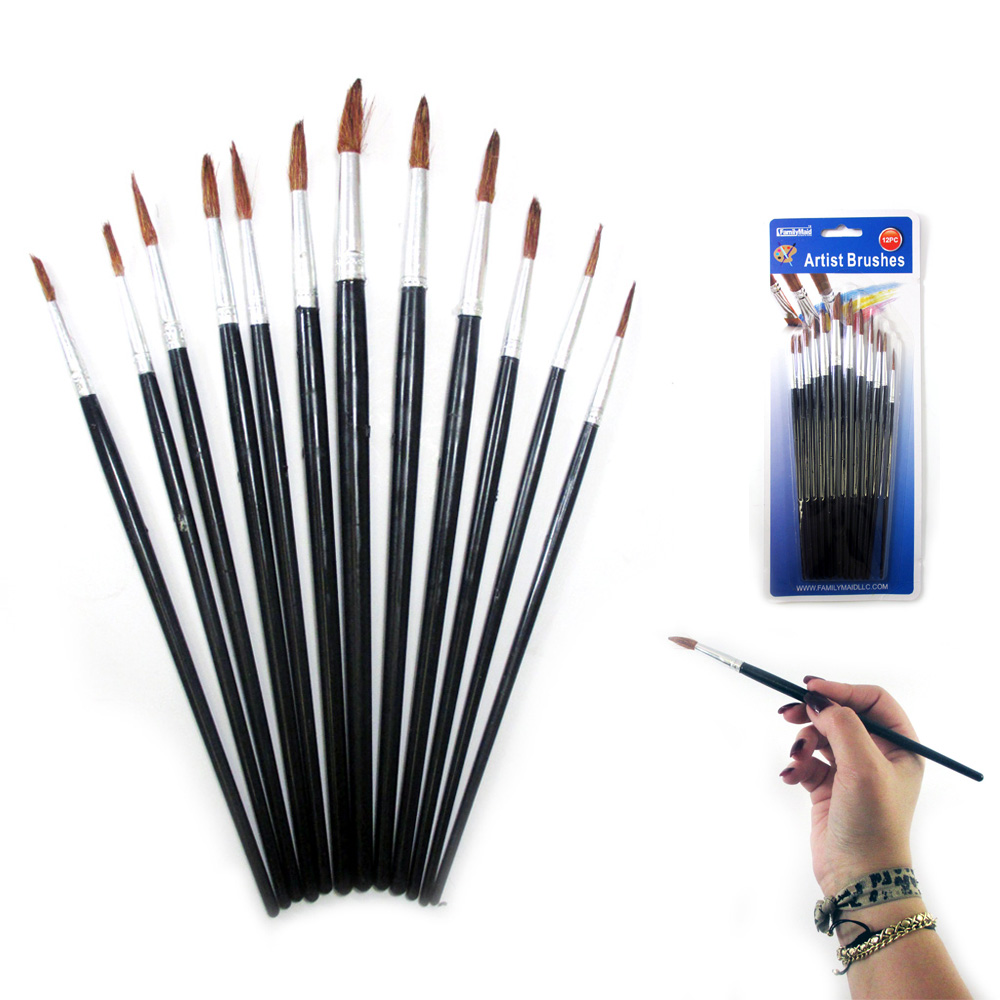 12 Pc Artist Paint Brush Set Watercolor Acrylic Painting Pointed Brushes Crafts