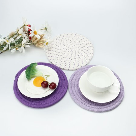 "Set of 3 Cotton Thread Weave Heat Resistant Mat, 7"" Dia, Placemats Purple Series - image 5 of 7"