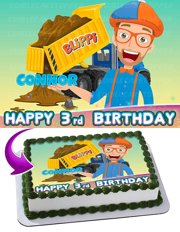 Blippi Edible Cake Image Topper Personalized Birthday ...