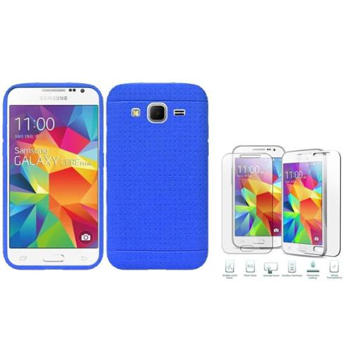 Insten Rugged Gel Rubber TPU Cover Case For Samsung Galaxy Core Prime - Blue (with Shatter-Proof Glass Screen Protector)