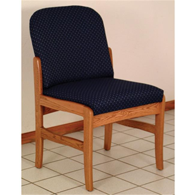 Wooden Mallet DW10-1MHVB Prairie Armless Guest Chair in Mahogany - Blue
