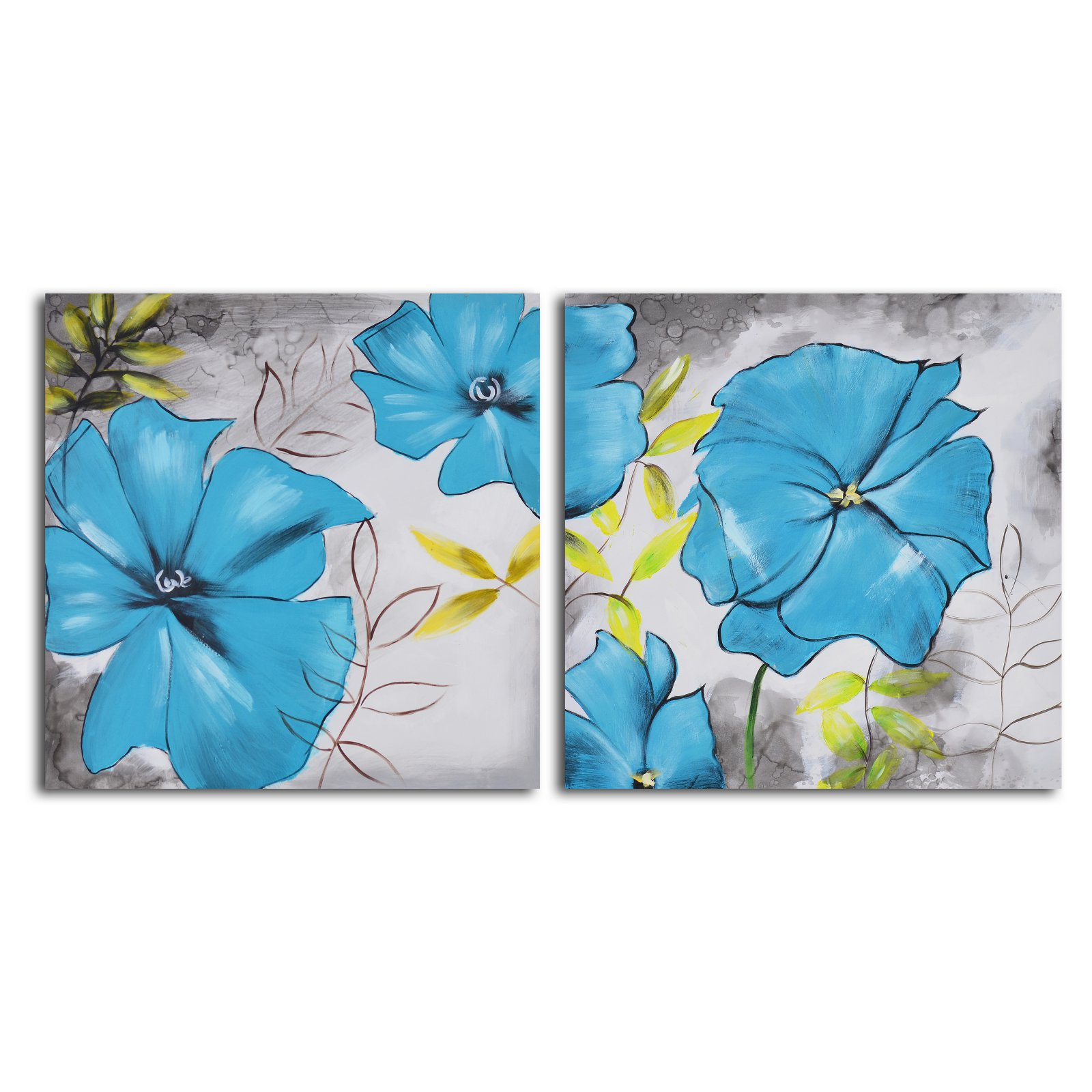 Poppy Blues 2-Piece Canvas Wall Art Set