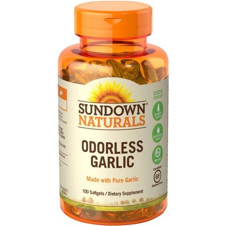Sundown Naturals Odorless Garlic Dietary Supplement Softgels, 100 count