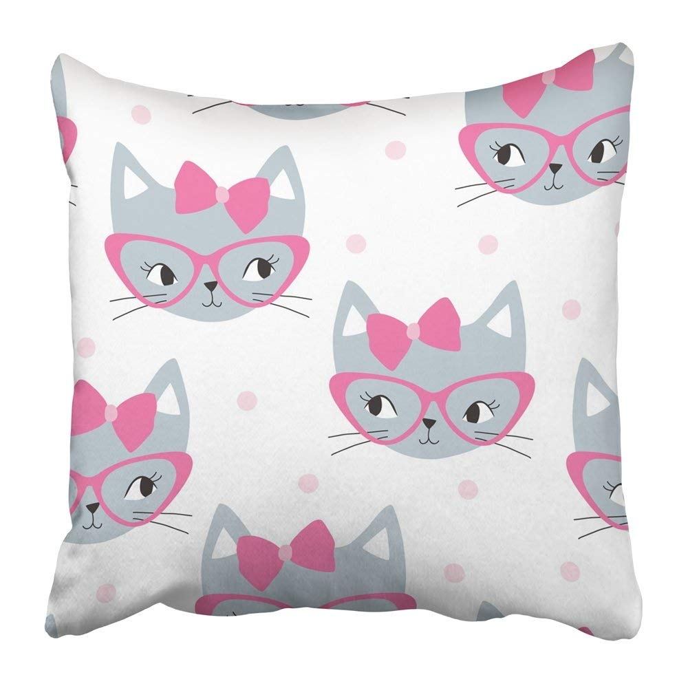 ARTJIA Colorful Cute Grey Cat with Pink Pattern White Kid Kitten Animal Bow Kitty Pet Playful Pillowcase Pillow Cover 16x16 inches