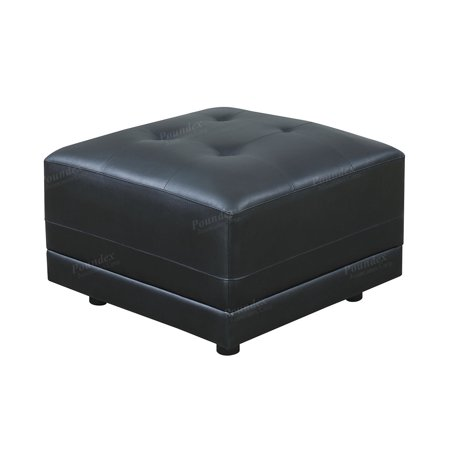 Simple Relax F6564 Tufted Seat Square Ottoman in Black Bonded Leather
