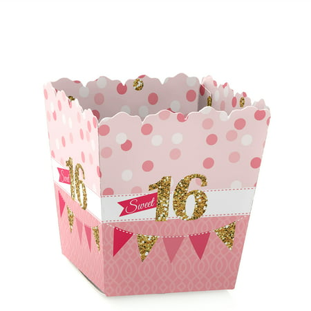 Sweet 16 - Party Mini Favor Boxes - Sixteenth Birthday Party Treat Candy Boxes - Set of 12