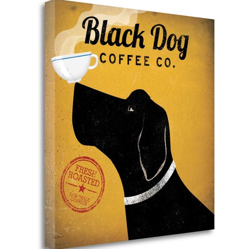 Tangletown Fine Art Black Dog Coffee Co Canvas Wall Art By Ryan Fowler