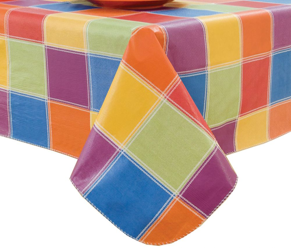 Flannel Back Tablecloths Multi-color Elrene Assorted Sizes Color Streaks Vinyl