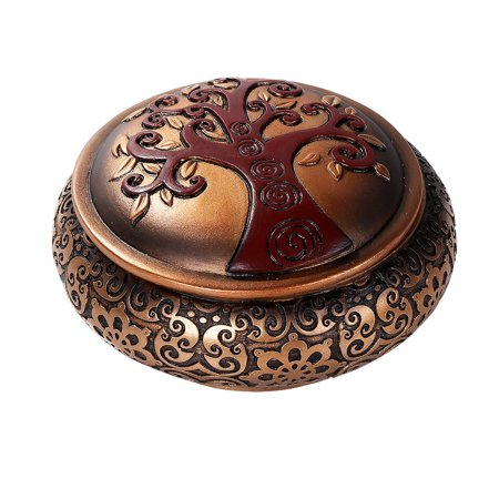 Celtic Tree of Life Round Decorative Trinket Box Tabletop Decor
