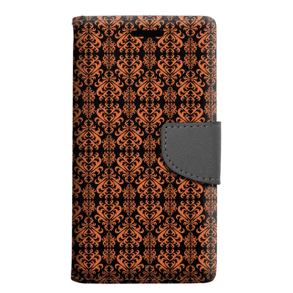 ZTE Grand X 3 Wallet Case - Victorian Damask Orange on Black Case