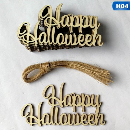 SHOPFIVE Trend 10Pcs Wooden Halloween Hanging Sign Witch Bat Spider Gift Tags Decor String Welcome To Our Shop! Have a Good Time!