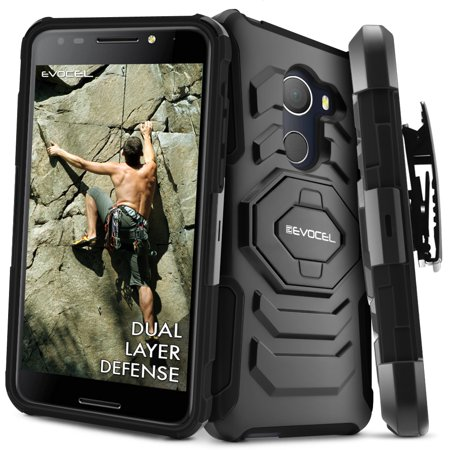 Mobile Phone Holster - T-Mobile REVVL Case, Evocel [Belt Clip Holster] [Kickstand] [Dual Layer] New Generation Phone Case for T-Mobile REVVL (5049W) / Alcatel Walters, Black