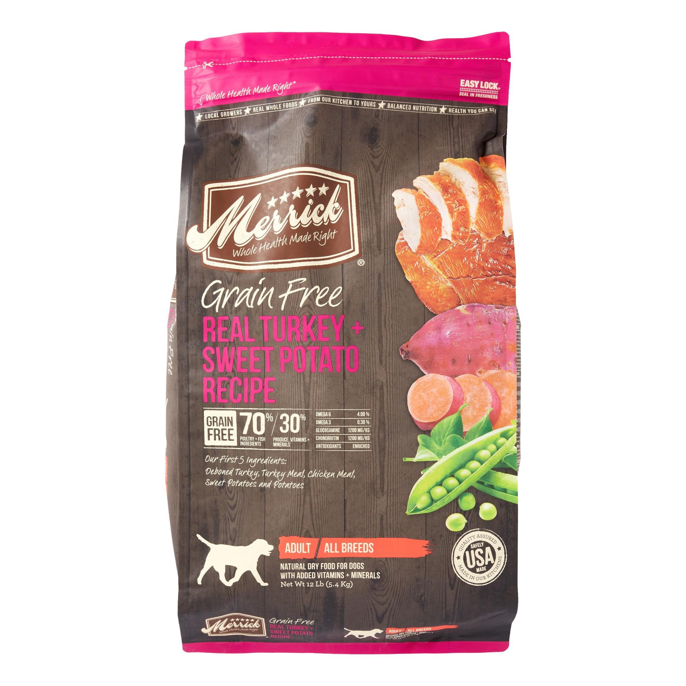 Merrick Grain-Free Real Turkey + Sweet Potato Recipe Dry Dog Food, 12 lb