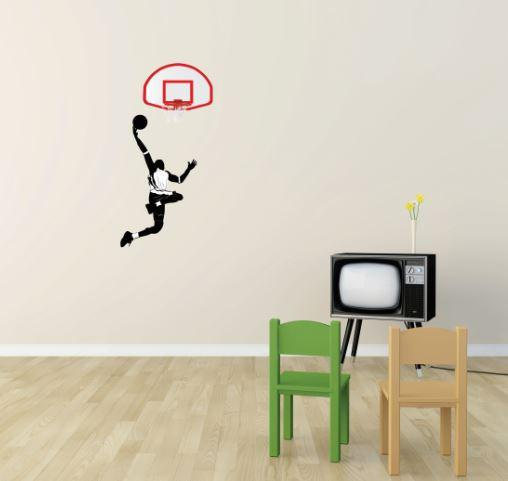 Slam It (Do It Yourself Wall Decal Sticker Basketball Player Slam Dunk All Star Sport Boy Girl Teen Bedroom Bathroom Living Room Mural)
