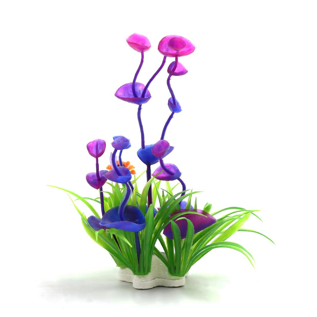 2pcs Purple Plastic Plant Betta Tank Fishbowl Aquascape Decor Ornament w/ Stand - image 1 of 3