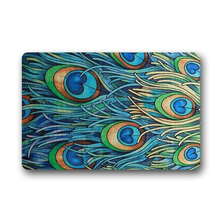 WinHome Peacock Doormat Floor Mats Rugs Outdoors/Indoor Doormat Size 30x18