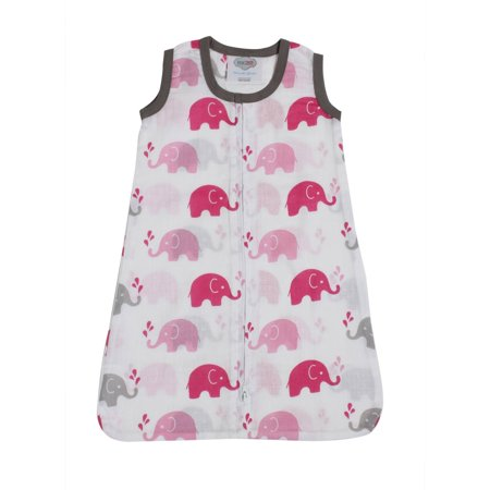 Bacati - Elephants 100% Cotton breathable Muslin Wearable Blanket (Choose Your Size)
