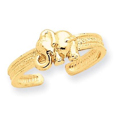 - 14K Yellow Gold Elephant Toe Ring