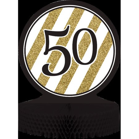 The Party Aisle Black and Gold 50th Birthday Centerpiece for $<!---->