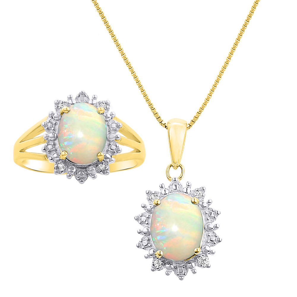 Princess Diana Inspired Halo Diamond & Opal Matching Pendant Necklace and Ring Set In 14K Yellow Gold SET4781OPY-G by Rylos