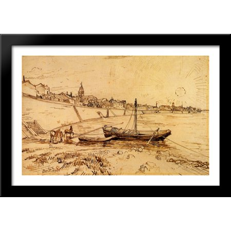 Bank Of The Rhone At Arles 40X28 Large Black Wood Framed Print Art By Vincent Van Gogh
