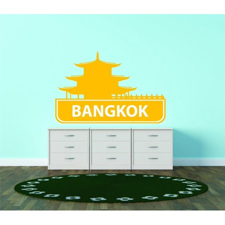 Custom City Wall Map - Custom Wall Decal Bangkok Thailand United States Major City Geographical Map Landmark - Vinyl Wall - 24x30