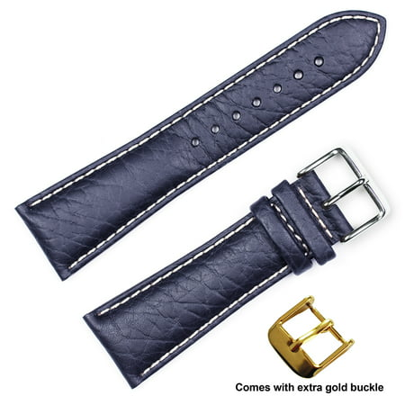 deBeer brand Sport Leather Watch Band (Silver & Gold Buckle) - Navy 22mm