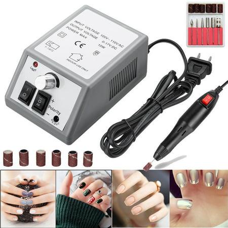 Electric Nail File Nail Art Drill Machine Kit Professional 20000 RPM Nail Polisher Manicure Pedicure Nail Glazing Machine with US Plug (Gray)