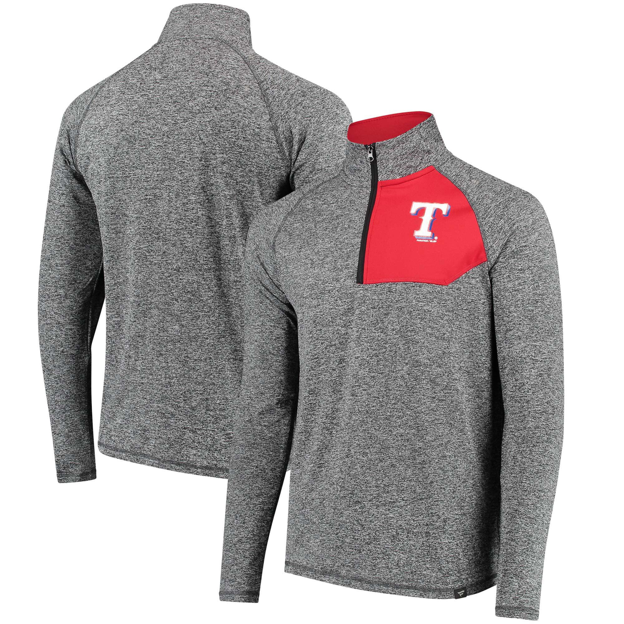 Texas Rangers Fanatics Branded Static Quarter-Zip Pullover Jacket - Heathered Gray