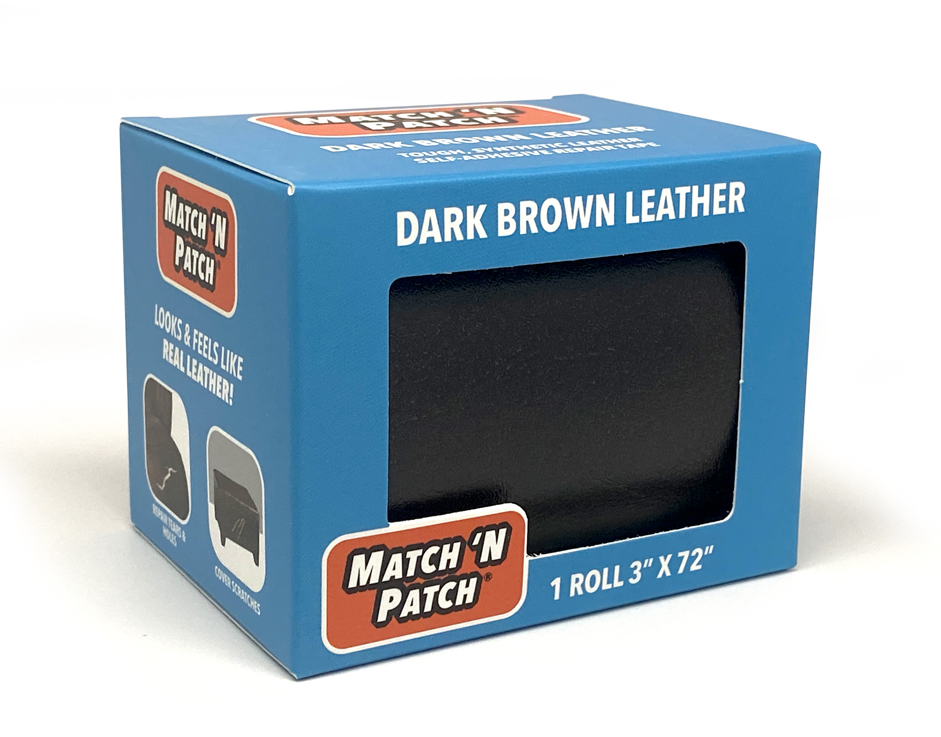 Match /'N Patch 3 inch x 72 inch Self-Adhesive Leather Repair Tape Dark Brown