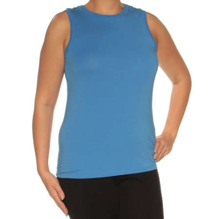 - TOMMY HILFIGER Womens Blue Sleeveless Jewel Neck Active Wear Top  Size: S