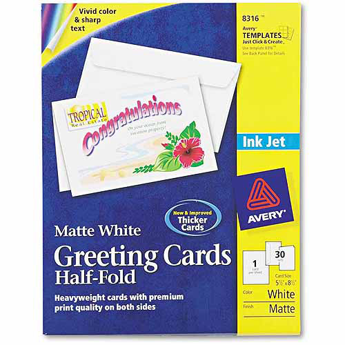 "Avery Half-Fold Greeting Cards, Inkjet, 5-1/2"" x 8-1/2"", Matte White, 30-Pack"