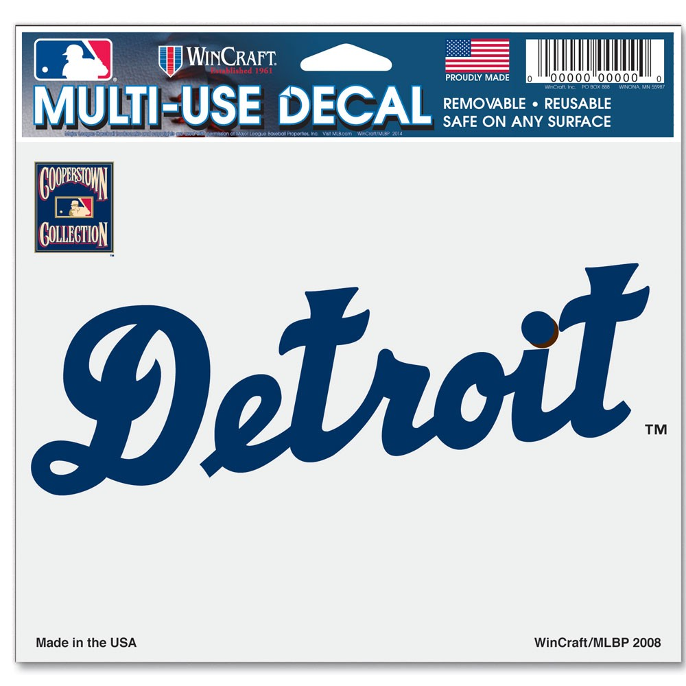 Detroit Tigers Official MLB 4 inch x 6 inch  Car Window Cling Decal by Wincraft