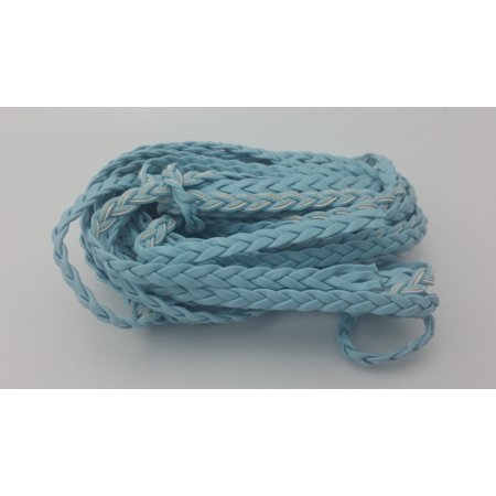 5 YARDS - 5MM Light Blue Herringbone Style Woven Braided Flat Faux Leather Cord BC0021