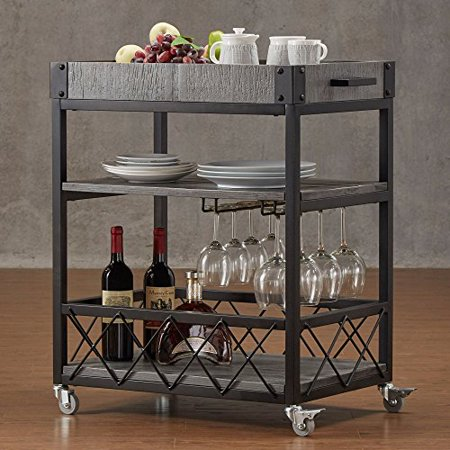ModHaus Living Modern Style Rustic Mobile 3-Tier Kitchen Bar Serving Rolling Wine Cart with Removable Tray Top and Bottom Shelf | Black Metal Frame, Wooden Shelves - Includes Pen (Gray)