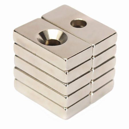10pcs/Set N50 Grade 20x10x4mmmagnet Strong Block Cuboid Magnets Bar Rare Earth Neodymium with 4mm Hole Size: 20x10x4mm