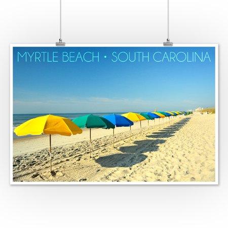 Myrtle Beach South Carolina Beach Umbrellas Lantern Press Photography 12x18 Art Print