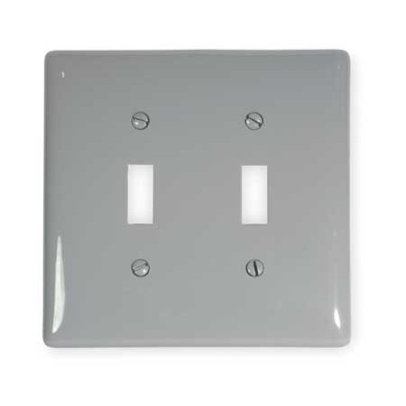 Hubbell Wiring Device-Kellems NPJ2GY 2 Gang Toggle Switch Wall Plate, Gray ()